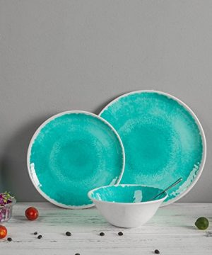 Melamine 12 Piece Dinnerware Set Dishes Set Suitable Indoors And Outdoors Service For 4Lightweight Turquoise 0 4 300x360
