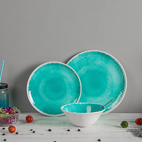 Melamine 12 Piece Dinnerware Set Dishes Set Suitable Indoors And Outdoors Service For 4Lightweight Turquoise 0 4