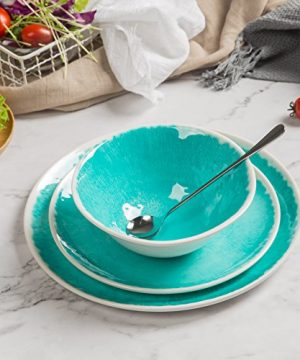 Melamine 12 Piece Dinnerware Set Dishes Set Suitable Indoors And Outdoors Service For 4Lightweight Turquoise 0 5 300x360
