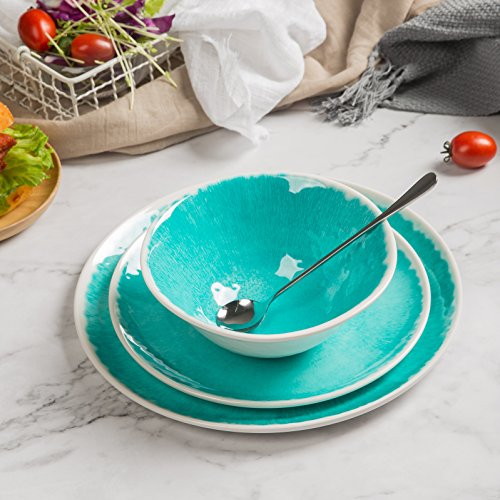 Melamine 12 Piece Dinnerware Set Dishes Set Suitable Indoors And Outdoors Service For 4Lightweight Turquoise 0 5