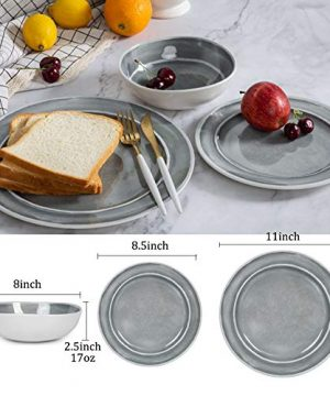 Melamine Dinnerware Set 12pcs Dishes Dinnerware Set For 4 Indoor And Outdoor Use Dishwasher Safe Break Resistant Lightweight Gray 0 0 300x360