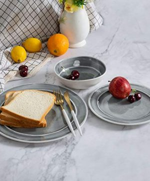 Melamine Dinnerware Set 12pcs Dishes Dinnerware Set For 4 Indoor And Outdoor Use Dishwasher Safe Break Resistant Lightweight Gray 0 2 300x360