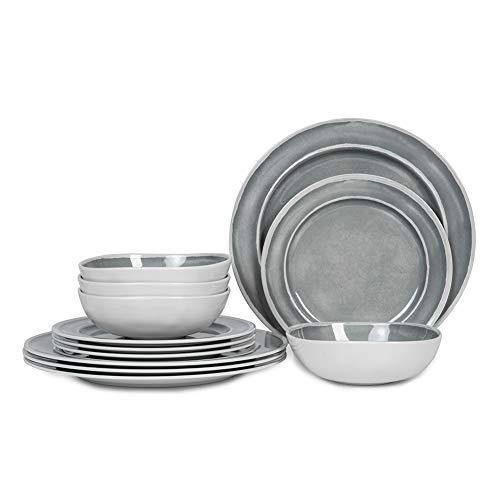 Melamine Dinnerware Set 12pcs Dishes Dinnerware Set For 4 Indoor And Outdoor Use Dishwasher Safe Break Resistant Lightweight Gray 0