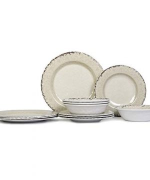 Melamine Dinnerware Set For 4 12pcs Dinnerware Dishes Set For Indoor And Outdoor Use Dishwasher Safe Unbreakable Light Grey 0 0 300x360