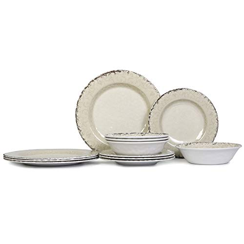 Melamine Dinnerware Set For 4 12pcs Dinnerware Dishes Set For Indoor And Outdoor Use Dishwasher Safe Unbreakable Light Grey 0 0