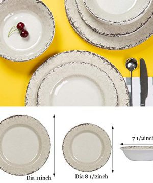 Melamine Dinnerware Set For 4 12pcs Dinnerware Dishes Set For Indoor And Outdoor Use Dishwasher Safe Unbreakable Light Grey 0 1 300x360