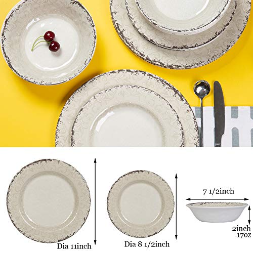 Melamine Dinnerware Set For 4 12pcs Dinnerware Dishes Set For Indoor And Outdoor Use Dishwasher Safe Unbreakable Light Grey 0 1