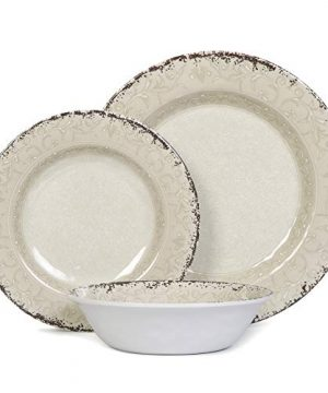 Melamine Dinnerware Set For 4 12pcs Dinnerware Dishes Set For Indoor And Outdoor Use Dishwasher Safe Unbreakable Light Grey 0 3 300x360