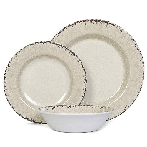 Melamine Dinnerware Set For 4 12pcs Dinnerware Dishes Set For Indoor And Outdoor Use Dishwasher Safe Unbreakable Light Grey 0 3
