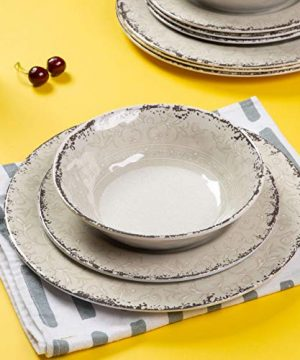 Melamine Dinnerware Set For 4 12pcs Dinnerware Dishes Set For Indoor And Outdoor Use Dishwasher Safe Unbreakable Light Grey 0 4 300x360