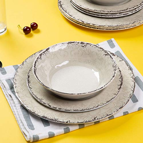 Melamine Dinnerware Set For 4 12pcs Dinnerware Dishes Set For Indoor And Outdoor Use Dishwasher Safe Unbreakable Light Grey 0 4