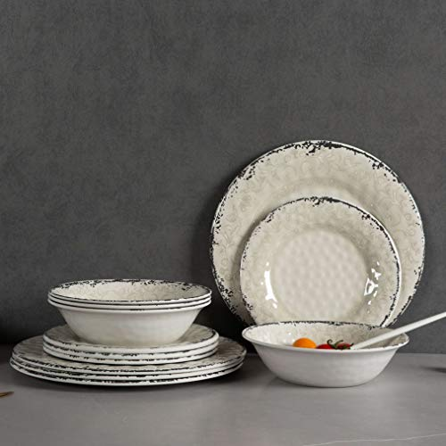 Melamine Dinnerware Set For 4 12pcs Dinnerware Dishes Set For Indoor And Outdoor Use Dishwasher Safe Unbreakable Light Grey 0