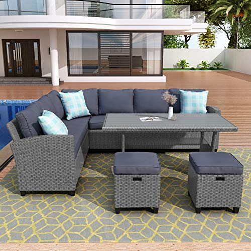 Merax 5 Piece Patio Dining Sets PE Rattan Sectional Outdoor Patio Furniture Wicker Sofa With 2 Stools Table Cushions Grey 0 1
