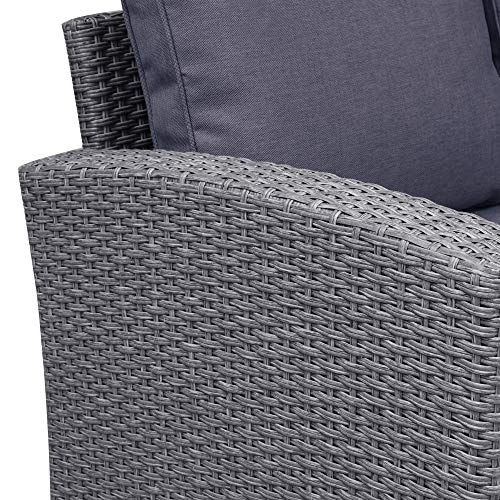 Merax 5 Piece Patio Dining Sets PE Rattan Sectional Outdoor Patio Furniture Wicker Sofa With 2 Stools Table Cushions Grey 0 3