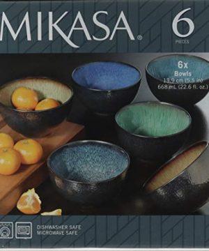 Mikasa Sapphire Stoneware Bowls Set Of 6 Bowls Dishwasher Safe Microwave Safe 0 0 300x360
