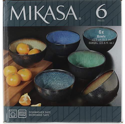 Mikasa Sapphire Stoneware Bowls Set Of 6 Bowls Dishwasher Safe Microwave Safe 0 0