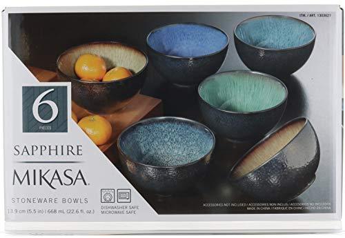 Mikasa Sapphire Stoneware Bowls Set Of 6 Bowls Dishwasher Safe Microwave Safe 0