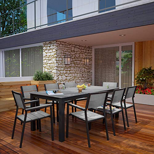Modway Maine Aluminum 9 Piece Outdoor Patio Dining Set With 80 Dining Table And Eight Dining Armchairs In Brown Gray 0