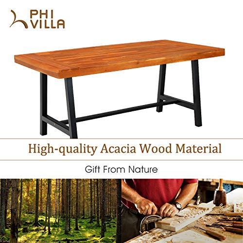 PHI VILLA 6 PCS Outdoor Patio Dining Set 1 Acacia Wood Table 1 Wooden Bench 4 Cushioned Wicker Chairs Dining Furniture Set For Yard Porch Balcony Indoor 0 3