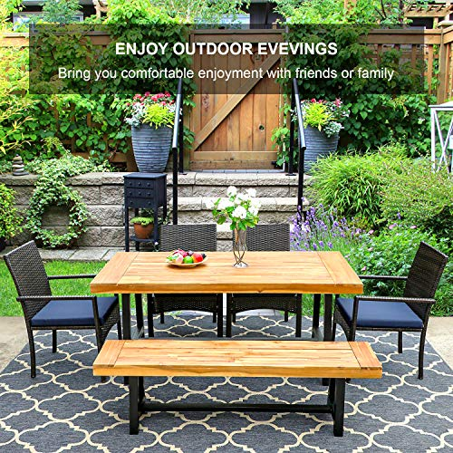 PHI VILLA 6 PCS Outdoor Patio Dining Set 1 Acacia Wood Table 1 Wooden Bench 4 Cushioned Wicker Chairs Dining Furniture Set For Yard Porch Balcony Indoor 0 4