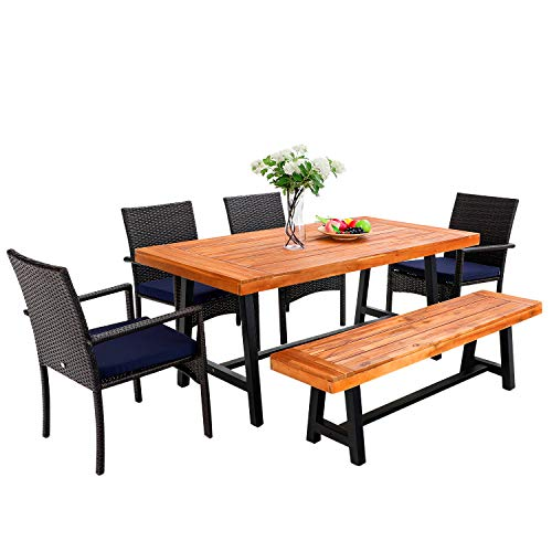 PHI VILLA 6 PCS Outdoor Patio Dining Set 1 Acacia Wood Table 1 Wooden Bench 4 Cushioned Wicker Chairs Dining Furniture Set For Yard Porch Balcony Indoor 0