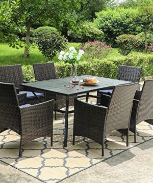 PHI VILLA 7 Piece Patio Dining Sets Outdoor Slatted Metal Table With 157 Umbrella Hole 6 Rattan Wicker Chair For Deck Yard Porch 0 3 300x360