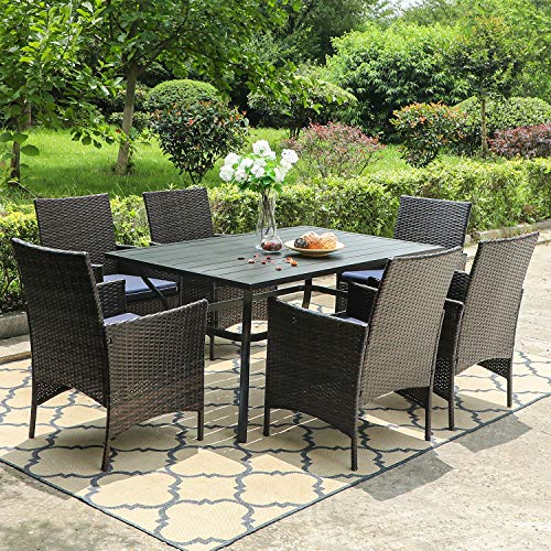 PHI VILLA 7 Piece Patio Dining Sets Outdoor Slatted Metal Table With 157 Umbrella Hole 6 Rattan Wicker Chair For Deck Yard Porch 0 3