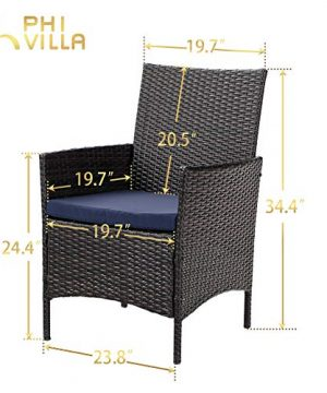 PHI VILLA 7 Piece Patio Dining Sets Outdoor Slatted Metal Table With 157 Umbrella Hole 6 Rattan Wicker Chair For Deck Yard Porch 0 4 300x360
