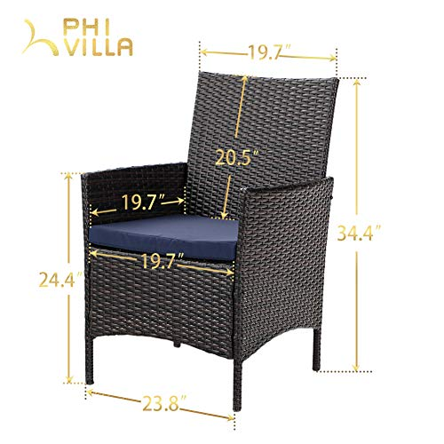 PHI VILLA 7 Piece Patio Dining Sets Outdoor Slatted Metal Table With 157 Umbrella Hole 6 Rattan Wicker Chair For Deck Yard Porch 0 4