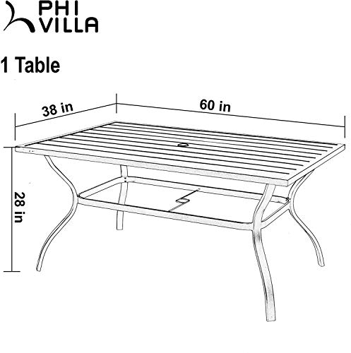 PHI VILLA 7 Piece Patio Dining Sets Outdoor Slatted Metal Table With 157 Umbrella Hole 6 Rattan Wicker Chair For Deck Yard Porch 0 5