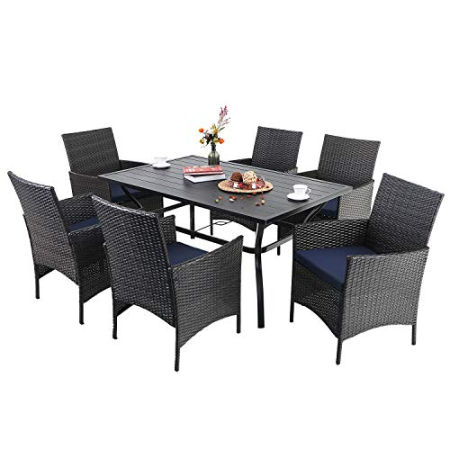 PHI VILLA 7 Piece Patio Dining Sets Outdoor Slatted Metal Table With 157 Umbrella Hole 6 Rattan Wicker Chair For Deck Yard Porch 0