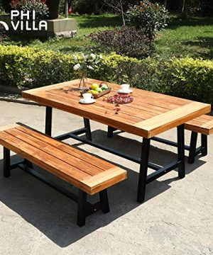 PHI VILLA Outdoor Table Bench Set Of 3 1 Wood Dining Table 2 Wooden Benches Premium Acacia Wood Patio Furniture Set For Porch Balcony Deck Teak Color 0 0 300x360