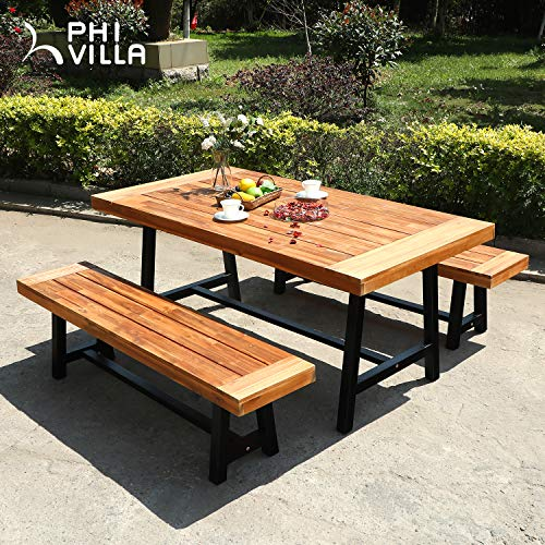 PHI VILLA Outdoor Table Bench Set Of 3 1 Wood Dining Table 2 Wooden Benches Premium Acacia Wood Patio Furniture Set For Porch Balcony Deck Teak Color 0 0