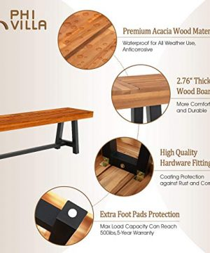 PHI VILLA Outdoor Table Bench Set Of 3 1 Wood Dining Table 2 Wooden Benches Premium Acacia Wood Patio Furniture Set For Porch Balcony Deck Teak Color 0 1 300x360