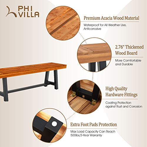 PHI VILLA Outdoor Table Bench Set Of 3 1 Wood Dining Table 2 Wooden Benches Premium Acacia Wood Patio Furniture Set For Porch Balcony Deck Teak Color 0 1