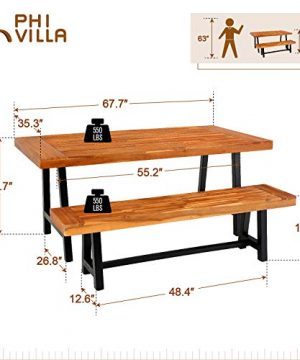 PHI VILLA Outdoor Table Bench Set Of 3 1 Wood Dining Table 2 Wooden Benches Premium Acacia Wood Patio Furniture Set For Porch Balcony Deck Teak Color 0 5 300x360