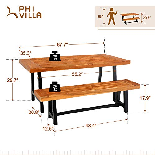 PHI VILLA Outdoor Table Bench Set Of 3 1 Wood Dining Table 2 Wooden Benches Premium Acacia Wood Patio Furniture Set For Porch Balcony Deck Teak Color 0 5