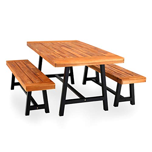 PHI VILLA Outdoor Table Bench Set Of 3 1 Wood Dining Table 2 Wooden Benches Premium Acacia Wood Patio Furniture Set For Porch Balcony Deck Teak Color 0