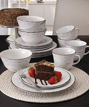 Pfaltzgraff Trellis 16 Piece Dinnerware Set Service For 4 Distressed White 0 0 300x360