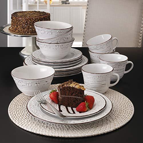 Pfaltzgraff Trellis 16 Piece Dinnerware Set Service For 4 Distressed White 0 0
