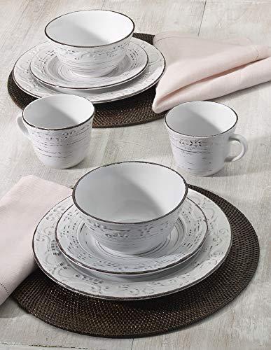Pfaltzgraff Trellis 16 Piece Dinnerware Set Service For 4 Distressed White 0 1