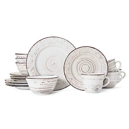 Pfaltzgraff Trellis 16 Piece Dinnerware Set Service For 4 Distressed White 0 2