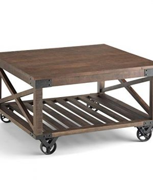 SIMPLIHOME Harding SOLID MANGO WOOD And Metal 32 Inch Wide Square Modern Industrial Coffee Table In Distressed Dark Brown With Storage 1 Shelf For The Living Room Family Room 0 300x360