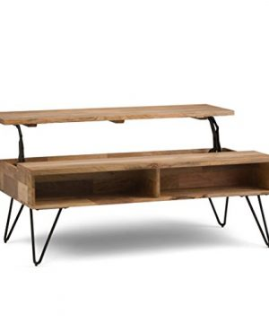 SIMPLIHOME Hunter SOLID MANGO WOOD And Metal 48 Inch Wide Rectangle Industrial Contemporary Lift Top Coffee Table In Natural With Storage 2 Shelves For The Living Room Family Room 0 300x360