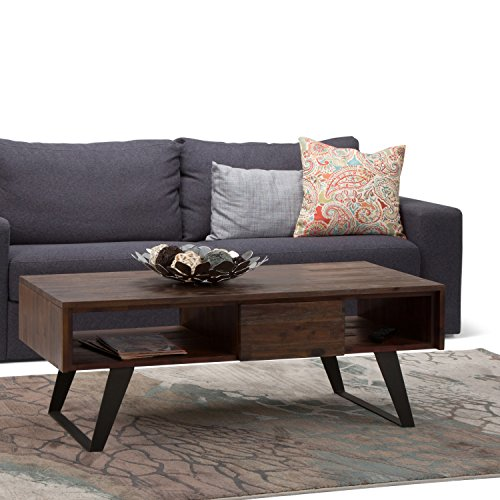 SIMPLIHOME Lowry SOLID ACACIA WOOD And Metal 48 Inch Wide Rectangle Modern Industrial Coffee Table In Distressed Charcoal Brown With Storage 1 Drawer And 2 Shelves For The Living Room Family Room 0 0