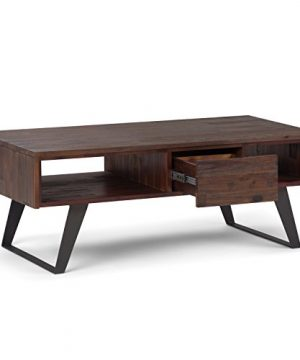 SIMPLIHOME Lowry SOLID ACACIA WOOD And Metal 48 Inch Wide Rectangle Modern Industrial Coffee Table In Distressed Charcoal Brown With Storage 1 Drawer And 2 Shelves For The Living Room Family Room 0 1 300x360