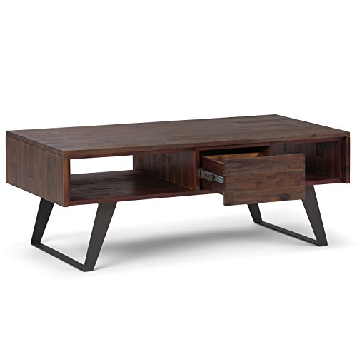 SIMPLIHOME Lowry SOLID ACACIA WOOD And Metal 48 Inch Wide Rectangle Modern Industrial Coffee Table In Distressed Charcoal Brown With Storage 1 Drawer And 2 Shelves For The Living Room Family Room 0 1