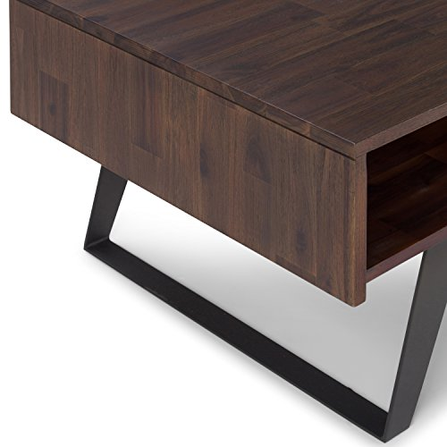 SIMPLIHOME Lowry SOLID ACACIA WOOD And Metal 48 Inch Wide Rectangle Modern Industrial Coffee Table In Distressed Charcoal Brown With Storage 1 Drawer And 2 Shelves For The Living Room Family Room 0 3