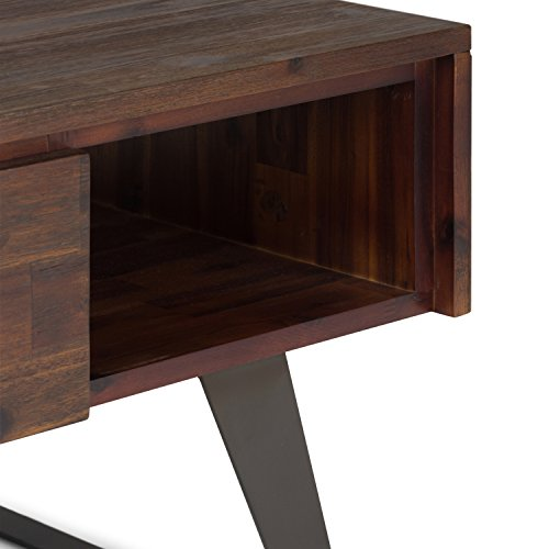 SIMPLIHOME Lowry SOLID ACACIA WOOD And Metal 48 Inch Wide Rectangle Modern Industrial Coffee Table In Distressed Charcoal Brown With Storage 1 Drawer And 2 Shelves For The Living Room Family Room 0 4