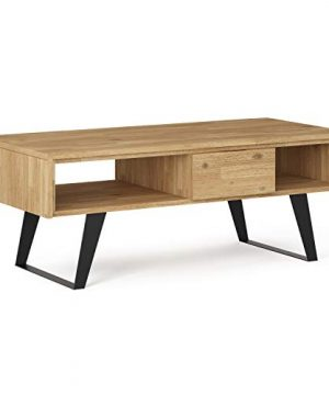 SIMPLIHOME Lowry SOLID ACACIA WOOD And Metal 48 Inch Wide Rectangle Modern Industrial Coffee Table In Distressed Golden Wheat With Storage 1 Drawer And 2 Shelves For The Living Room Family Room 0 300x360